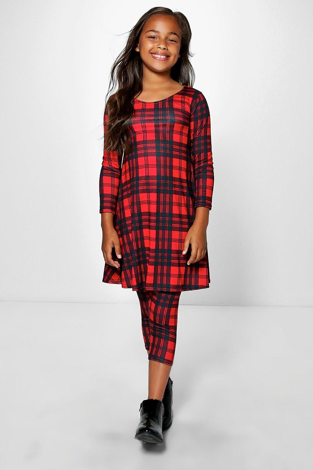 Girls Tartan Swing Dress & Leggings Set