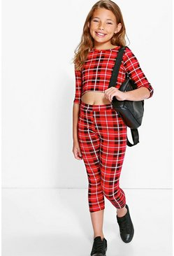 Girls Check Top & Leggings Set