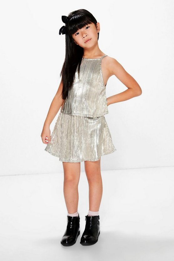 Girls Metallic Party Top & Skirt Set