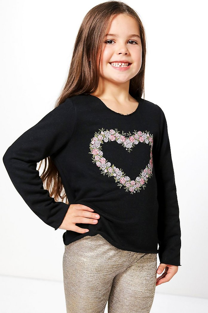 Girls Floral Heart Print Sweat Top