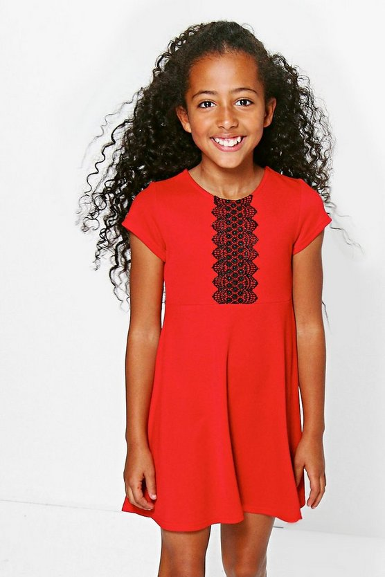 Girls Crochet Trim Skater Dress