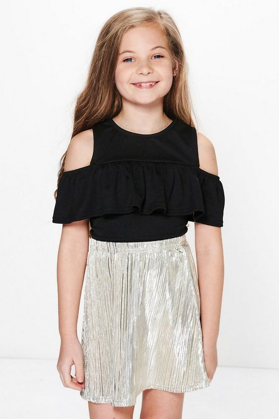 Girls Ruffle Open Shoulder Top