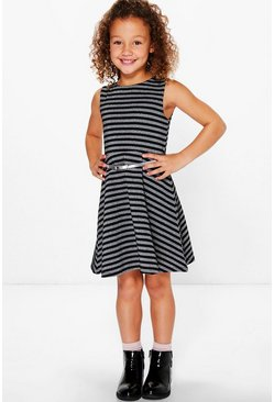 Girls Glitter Belted Party Skater Dress