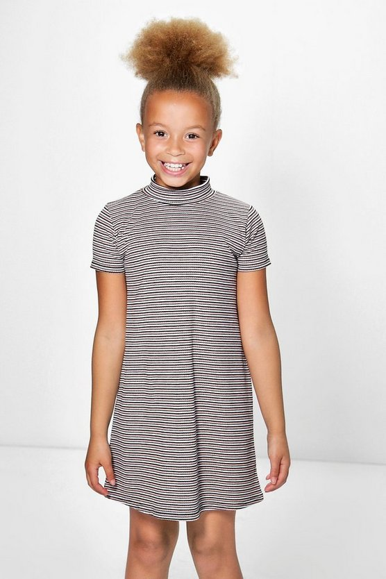 Girls Capped Sleeve Ribbed Skater Dress