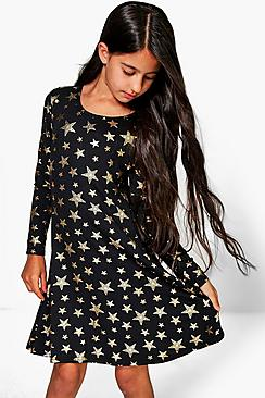 Girls Star Print Skater Dress