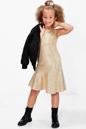 Girls All Over Metallic Party Dress