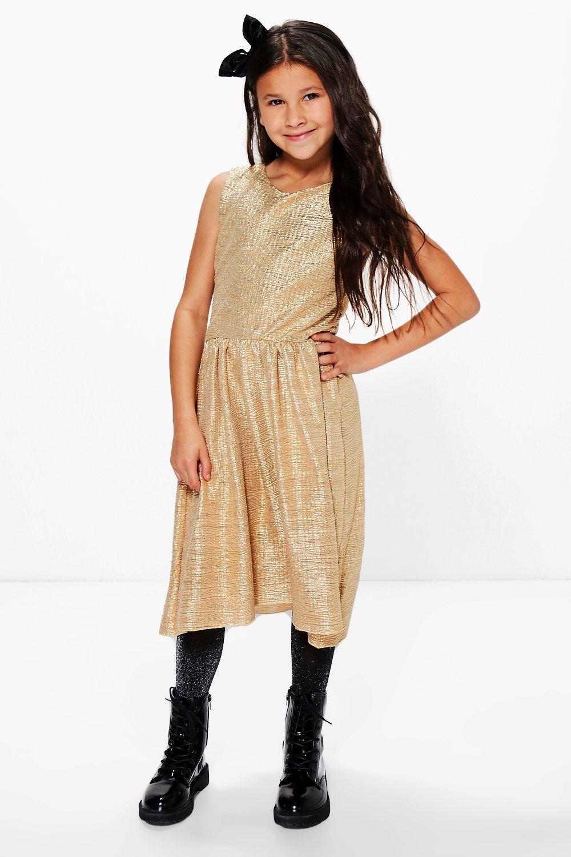 Boohoo Womens Girls Metallic Contrast Party Dress Ebay