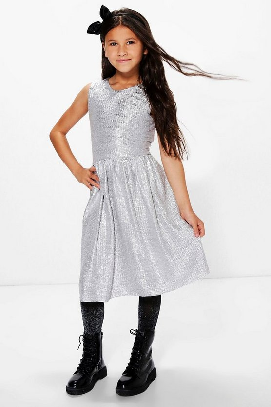 Girls Metallic Contrast Party Dress