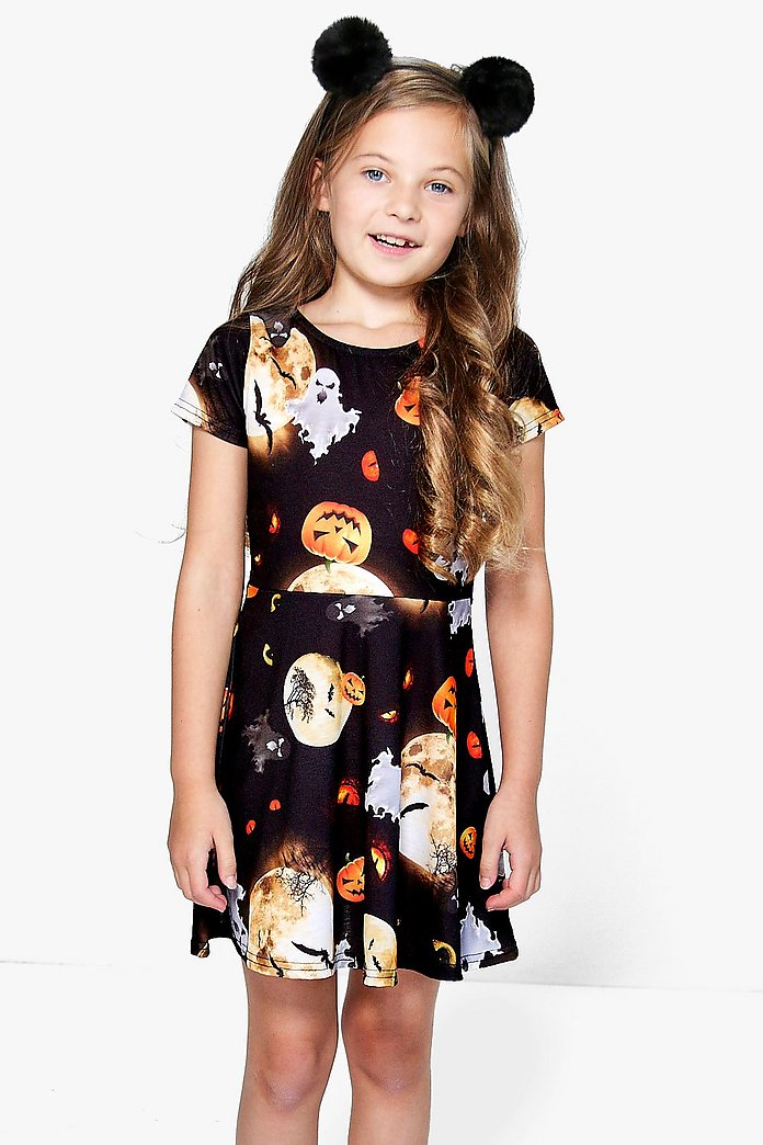 Girls Halloween Skater Dress