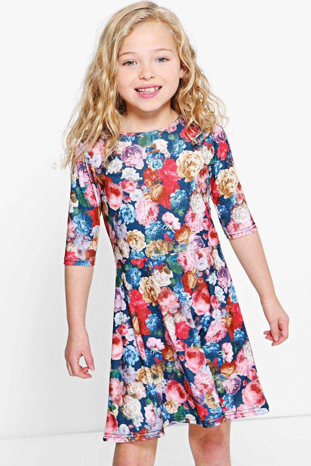 Girls Floral Skater Dress