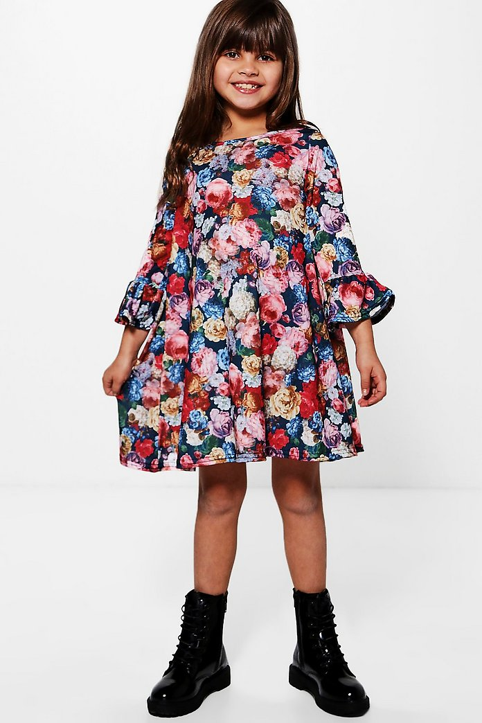 Girls Dark Floral Frill Sleeve Dress