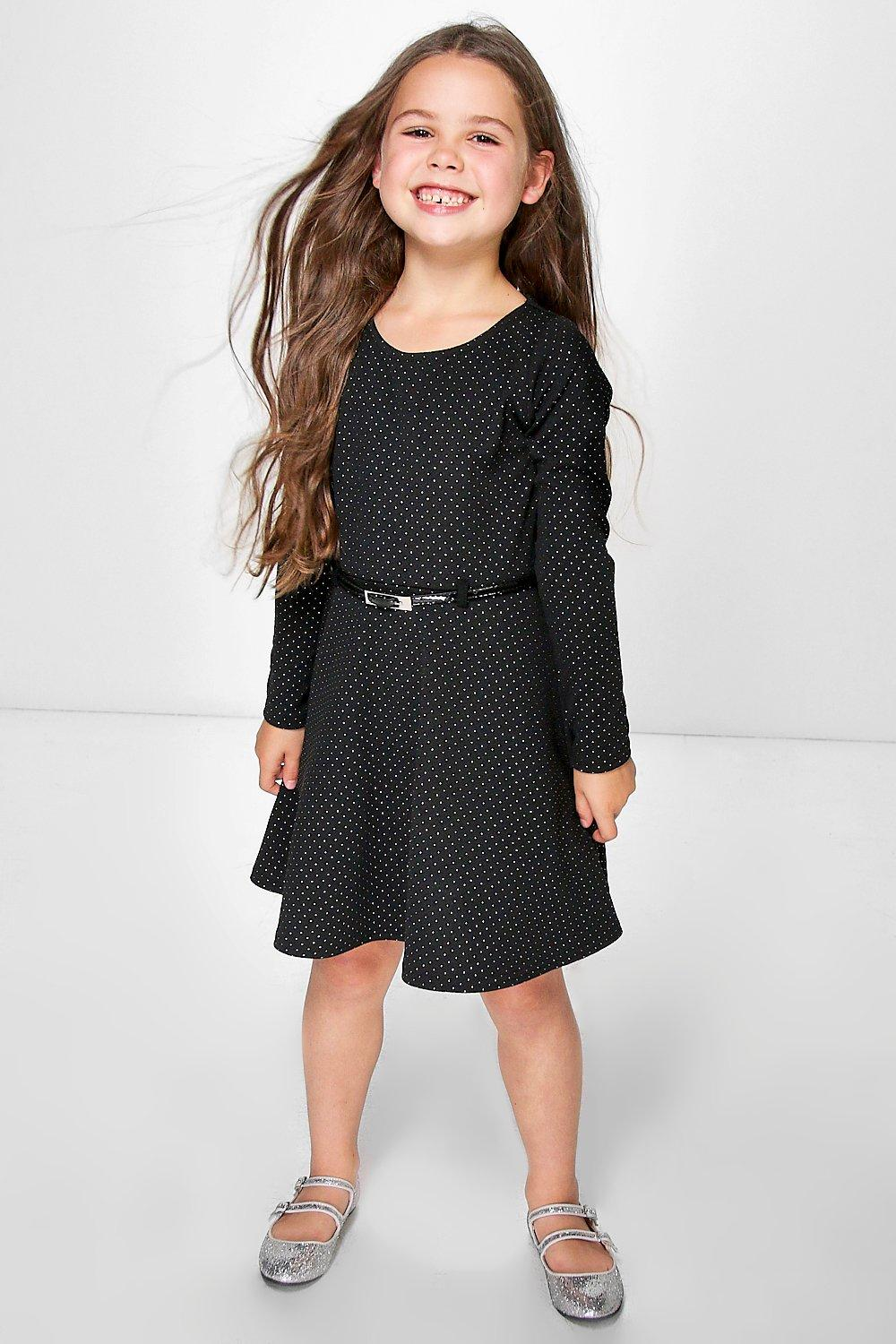 Girls Metallic Dot Belted Party Dress
