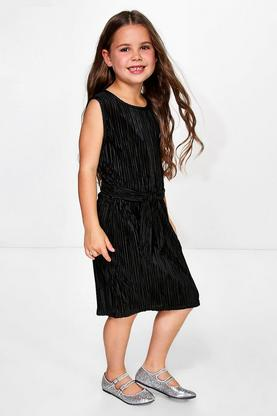 Girls Metallic Pleat Belted Dress