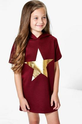 Girls Star Foil Hooded Sweat Dress