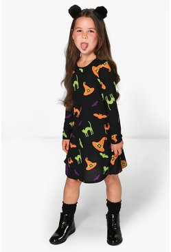 Girls Halloween Print Swing Dress