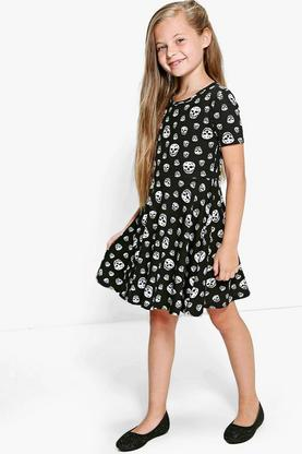 Girls Skull Print Skater Dress