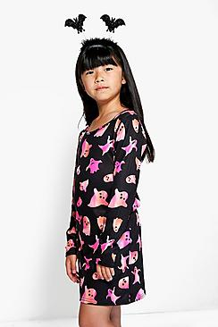 Girls Ghost Print Dress