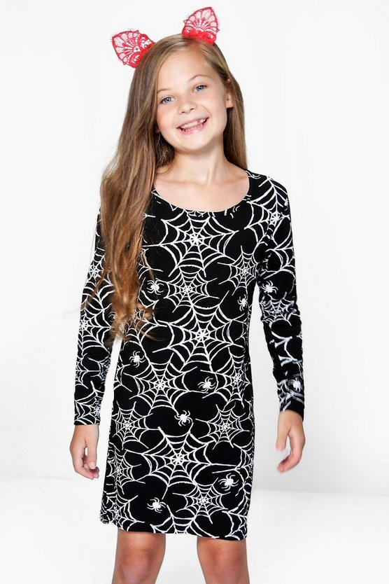 Girls Long Sleeve Cobweb Print Dress