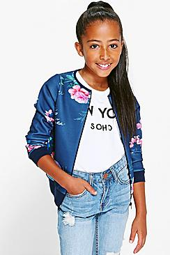 Girls Floral Bomber Jacket
