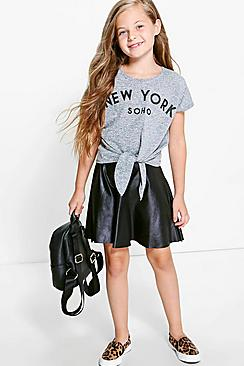 Girls Leather Look Skater Skirt