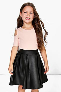 Girls Leather Look Box Pleat Skater Skirt