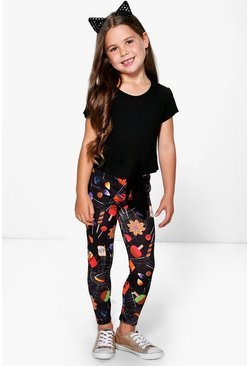 Girls Halloween Print Leggings