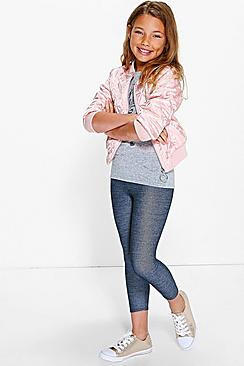 Girls Denim Look Leggings
