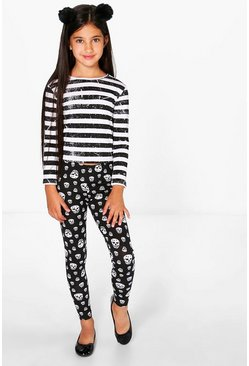 Girls Skull Print Leggings