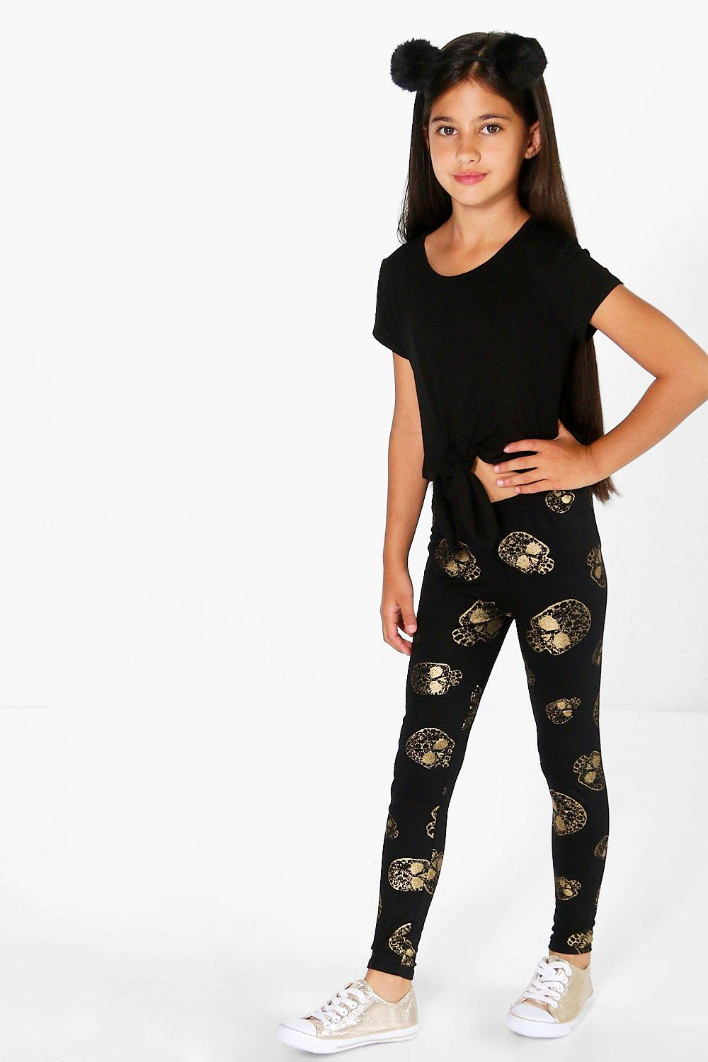 Girls Skull Print Gold Leggings