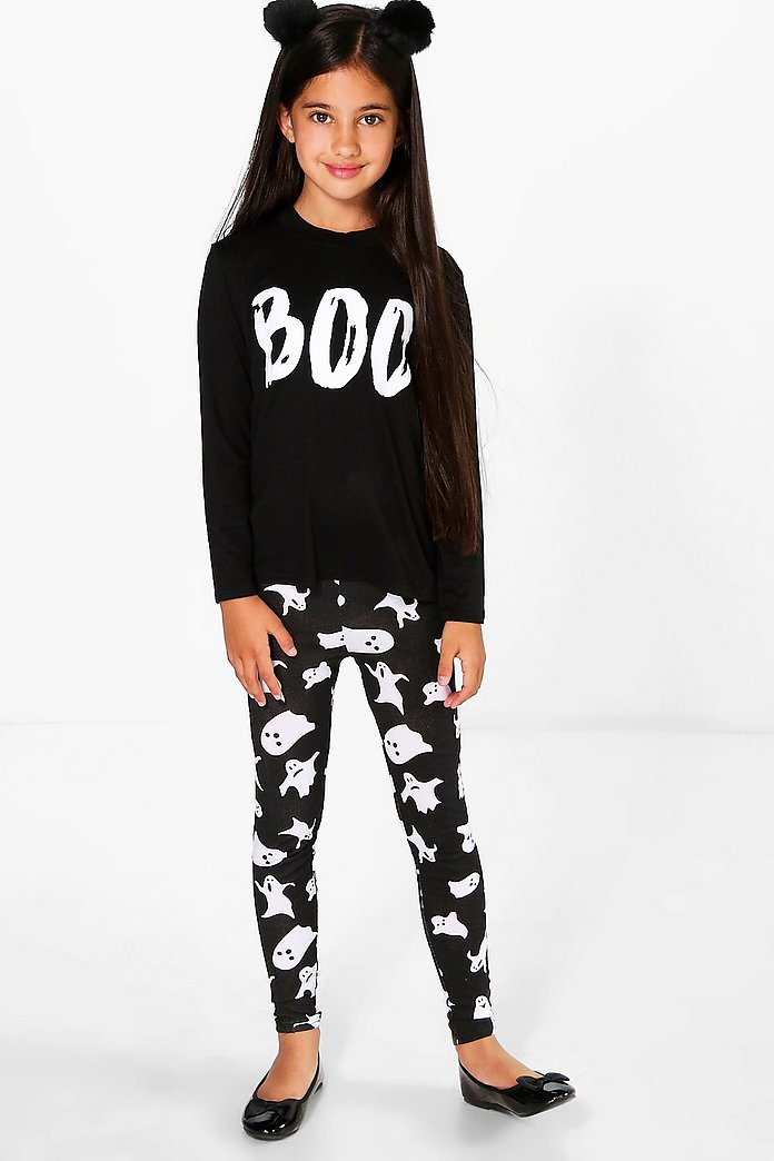 Girls Ghost Print Leggings