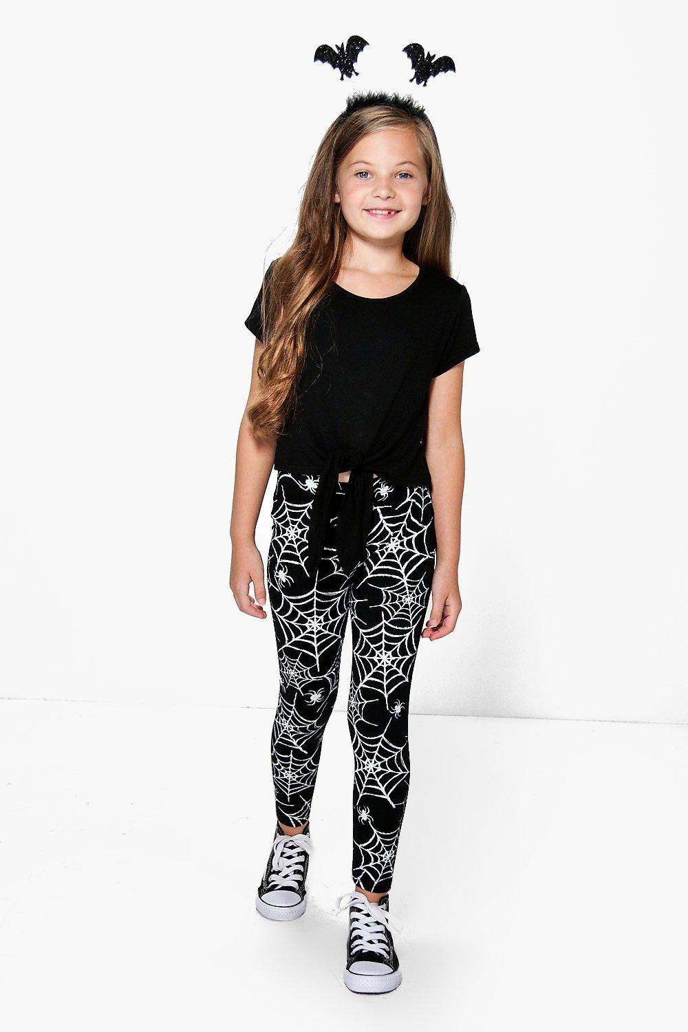 Girls Cobweb Print Leggings