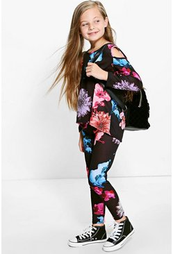 Girls Floral Print Top & Leggings Set