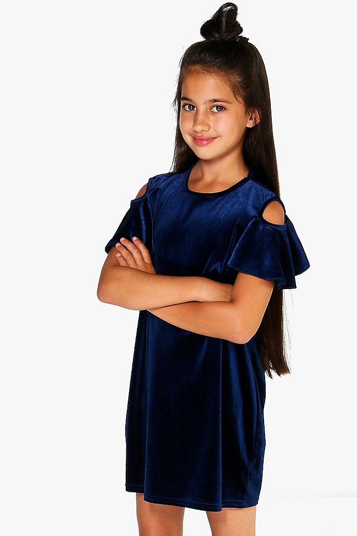 Girls Open Shoulder Velvet Dress