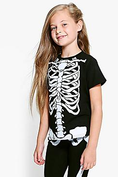 Girls Skeleton Print Tee