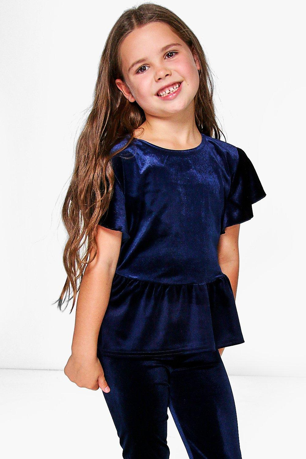 Girls Ruffle Hem Velvet Swing Top