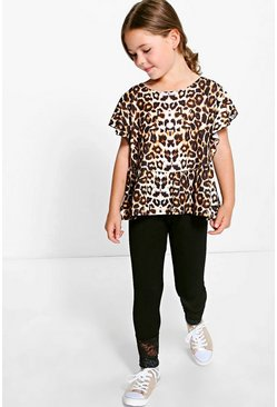 Girls Ruffle Leopard Print Top