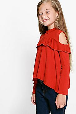 Girls Open Shoulder Ruffle Top