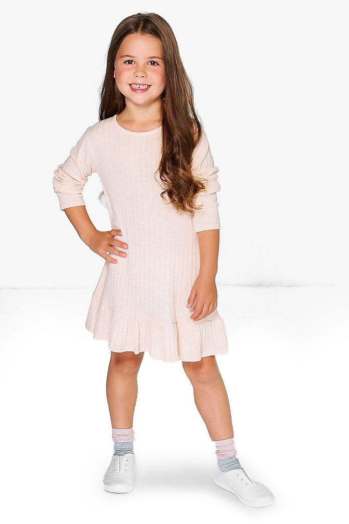 Girls Wide Rib Ruffle Hem Swing Dress