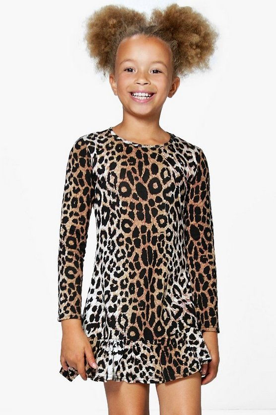 Girls Leopard Print Ruffle Hem Swing Dress