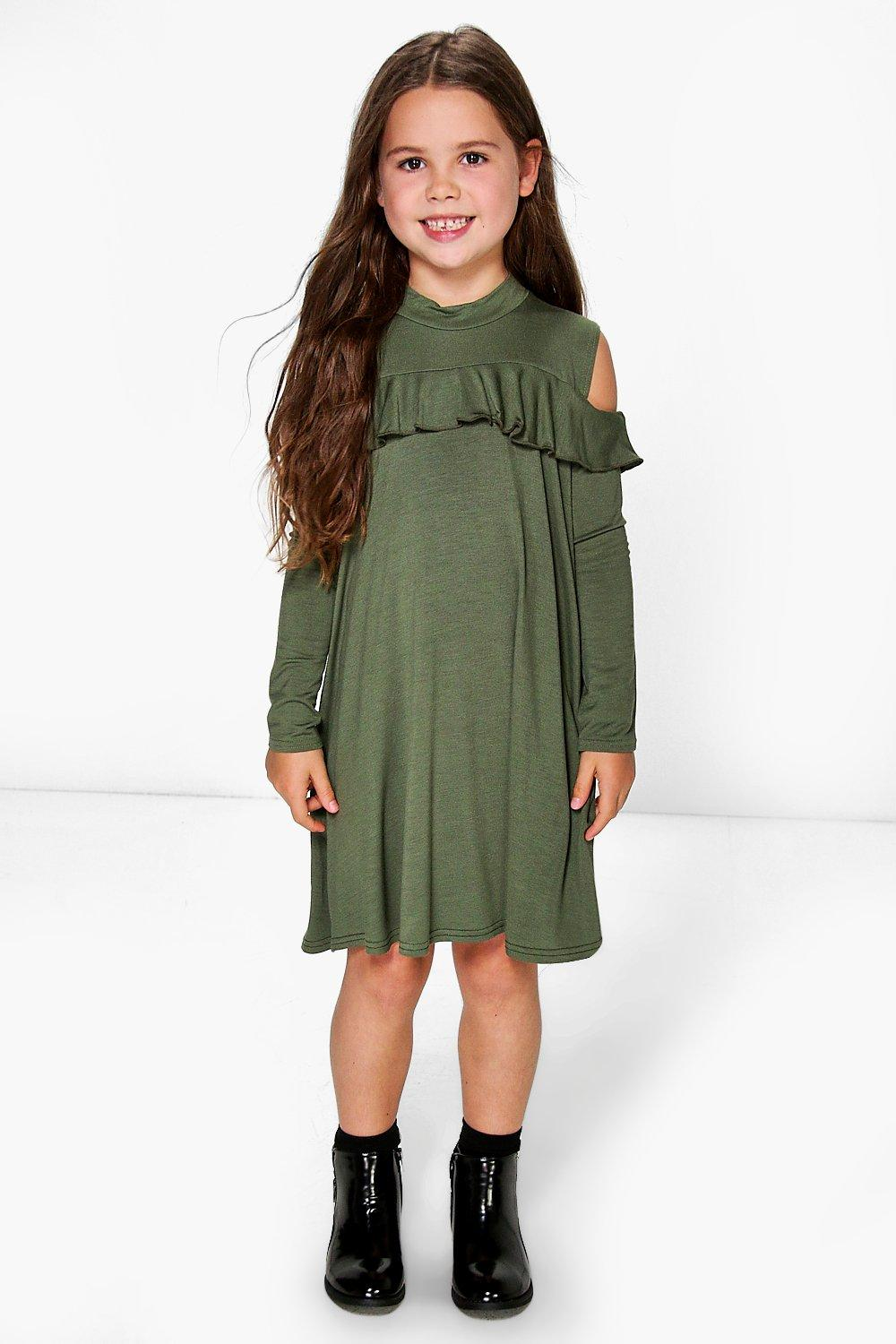 Girls Open Shoulder Ruffle Swing Dress