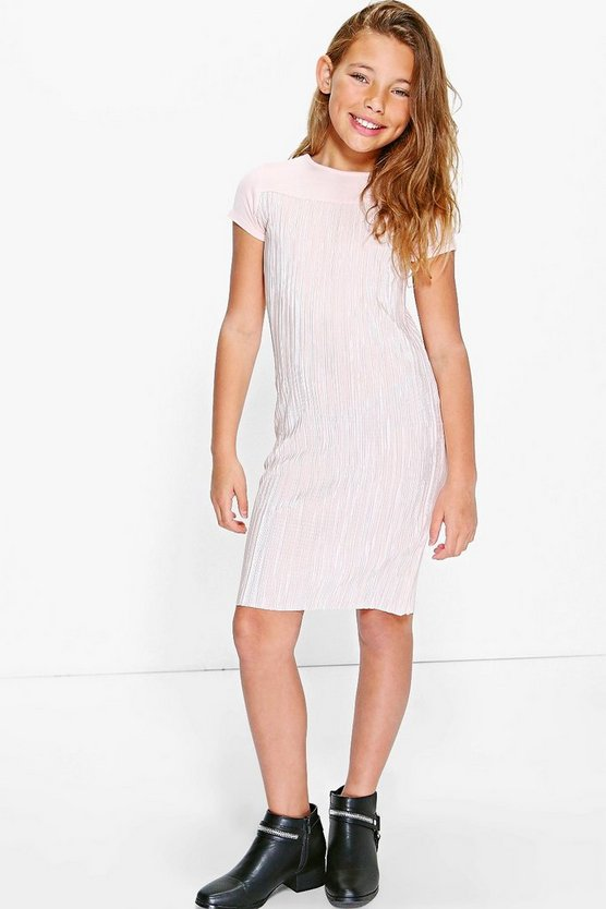 Girls Metallic Crinkle T Shirt Dress