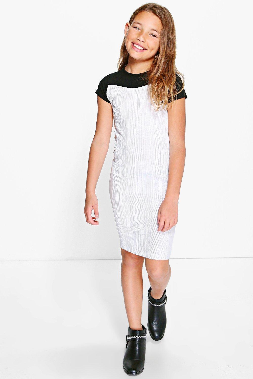 Boohoo womens girls metallic crinkle t shirt dress ebay for Silver metallic shirt women s