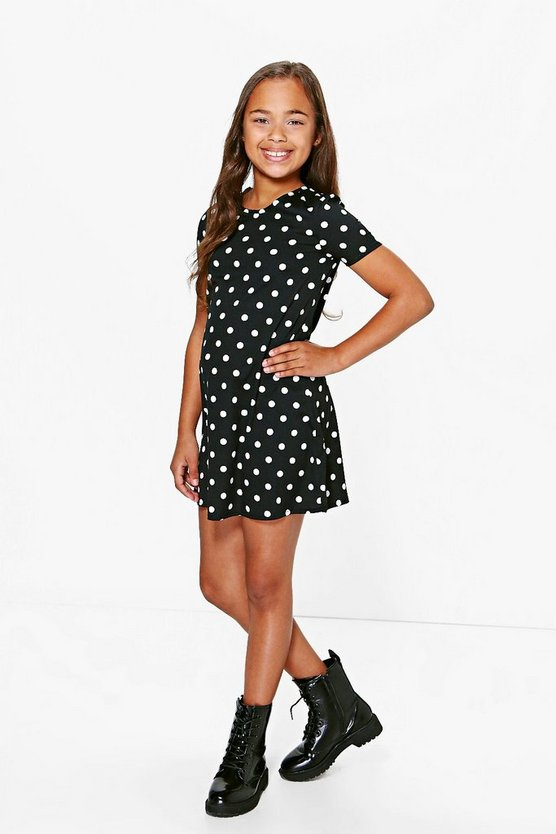 Girls Polka Dot Capped Sleeve Skater Dress