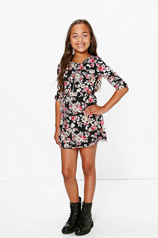 Girls Floral Print Zip Front Dress