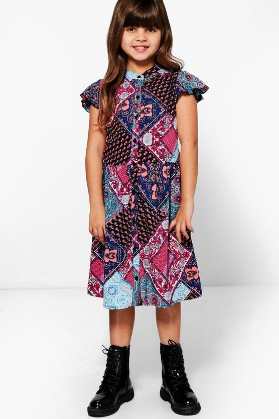 Girls Frill Cap Sleeve Shirt Dress