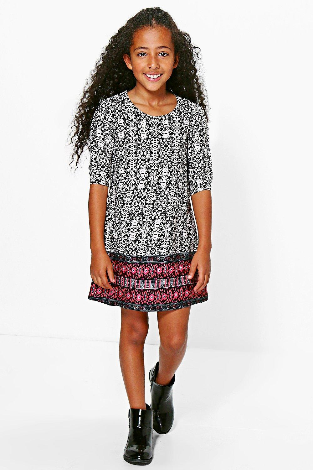 Girls Border Print Shift Dress