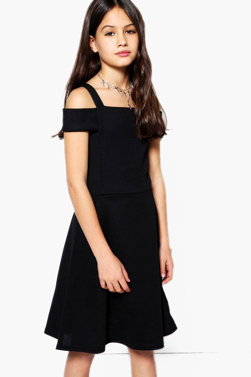 Girls Bardot Open Shoulder Skater Dress