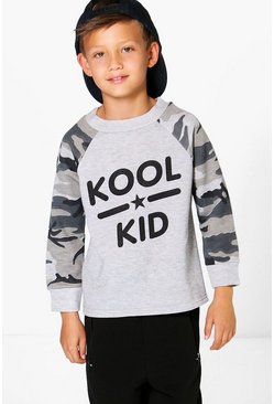 Boys Camo Colour Block Slogan Sweat Top