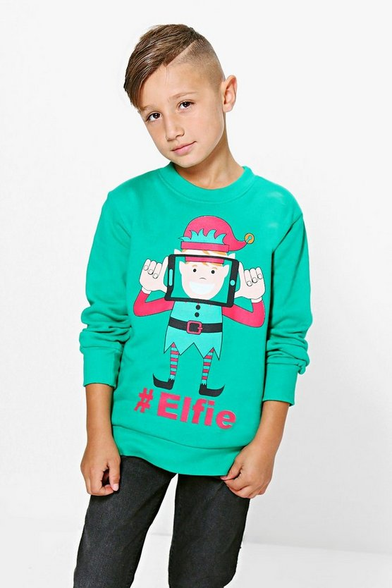 Boys Elfie Christmas Jumper