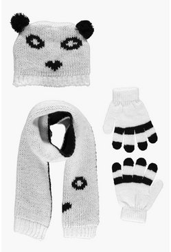 Girls Panda Hat Scarf & Gloves Set